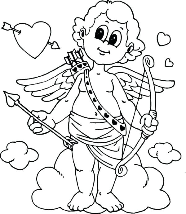 600x687 Cupid Coloring Pages Cupid With Bow And Arrow Valentines Day