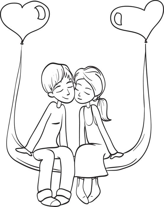 554x700 Free Printable Valentine39s Day Couple Coloring Page For Kids