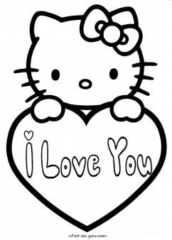 242x338 Free Printable Hello Kitty Valentines Day Coloring Pages For Kids