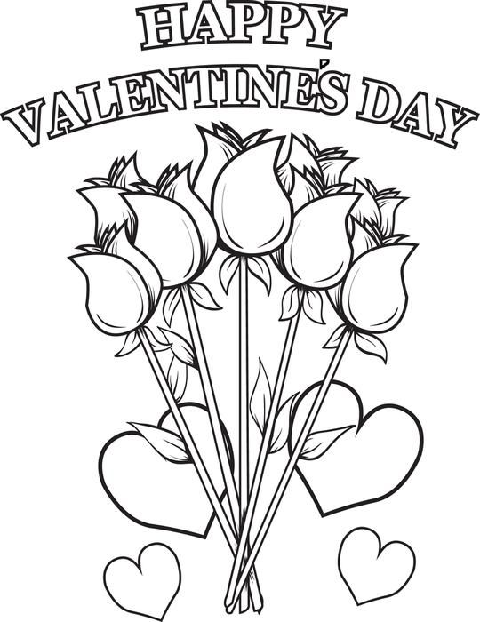 540x700 Happy Valentine's Day Flowers Coloring Page Free Printable