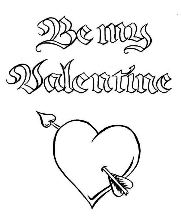 600x734 Be My Valentine A Magic Word On Valentine39s Day Coloring Page