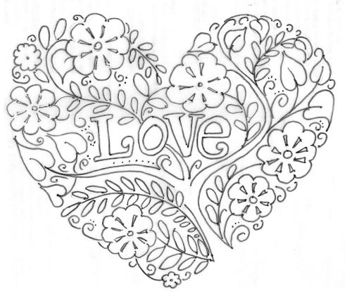 490x421 Valentine's Day Valentine Heart, Adult Coloring And Embroidery