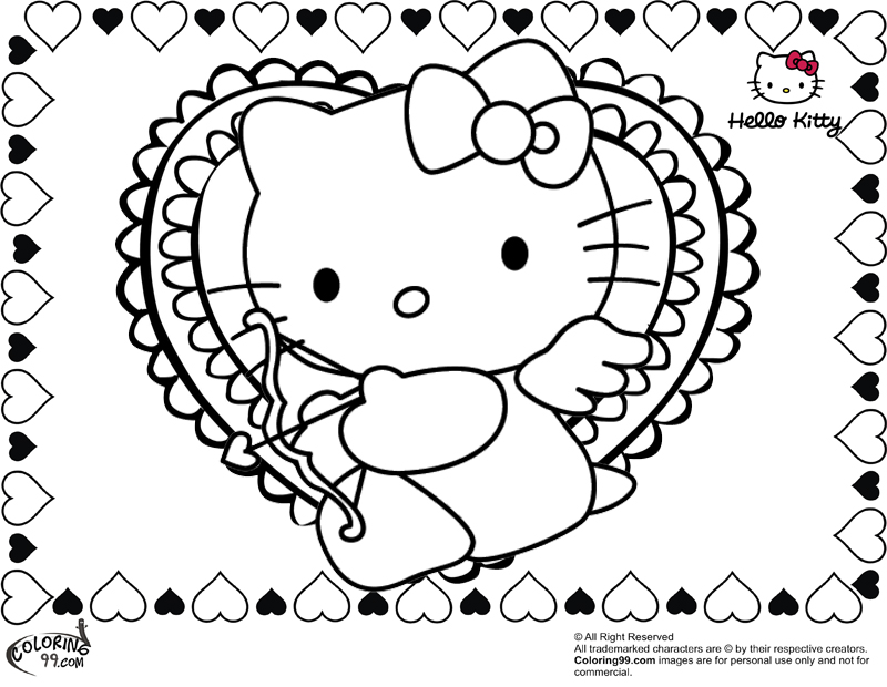 800x620 Hello Kitty Valentine Coloring Pages Printable In Tiny Print Draw