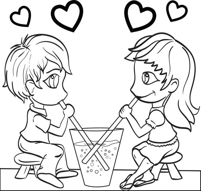 700x666 Free Printable Valentine39s Day Couple Coloring Page For Kids