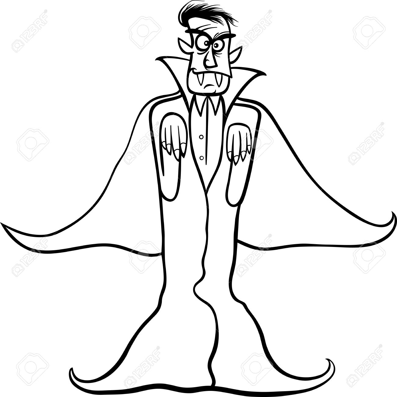 1300x1299 Black And White Cartoon Illustration Of Scary Count Dracula
