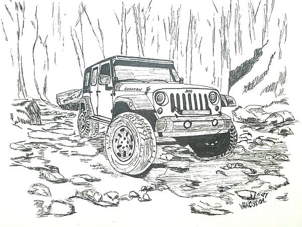 600x450 Jeep Rubicon Gel Pen Sketch Drawing By Scott D Van Osdol