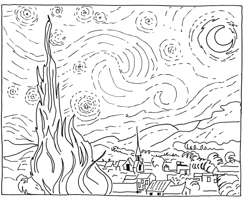 1024x829 Sponge Painting Van Gogh Starry Night Blank Canvas, Van Gogh