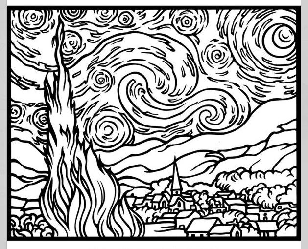 629x510 Van Gogh Coloring Page Art Lessons Van Gogh, Vans