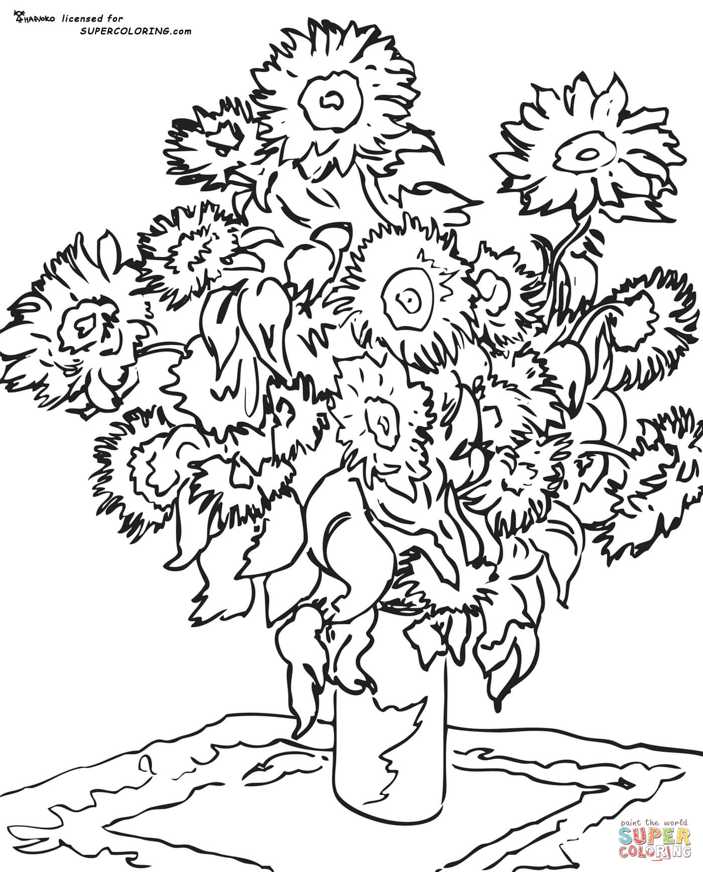 1400x1737 Sunflowers By Vincent Van Gogh Coloring Page Free Printable