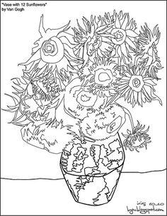 236x306 Van Gogh Sunflower Coloring Page Artists Van Gogh