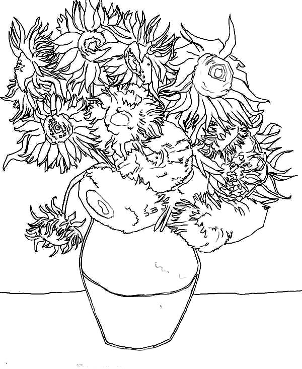 600x733 Van Gogh Sunflowers In Famous Paintings Coloring Page Batch Coloring