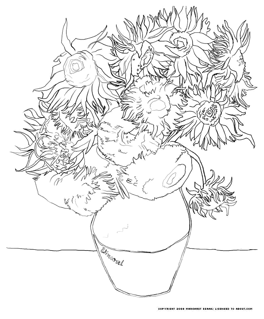 887x1071 Van Gogh Sunflowers Art Coloring Pages For Kids To Print Amp Color