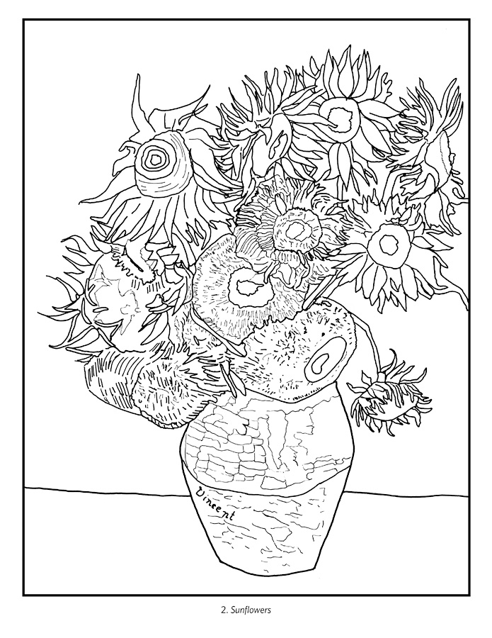 van goghs sunflowers coloring pages | Van Gogh Sunflowers Drawing at GetDrawings.com | Free for ...