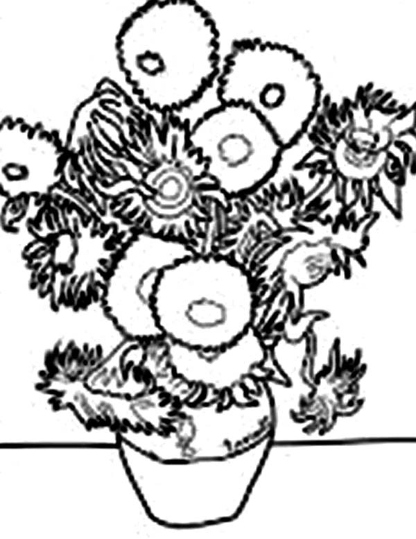 600x777 Vincent Van Gogh Sunflower In Famous Paintings Coloring Page