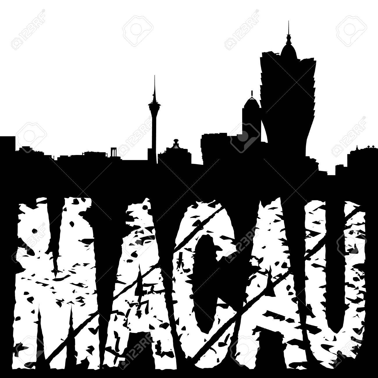 1300x1300 Macau Skyline With Grunge Text Illustration Stock Photo, Picture