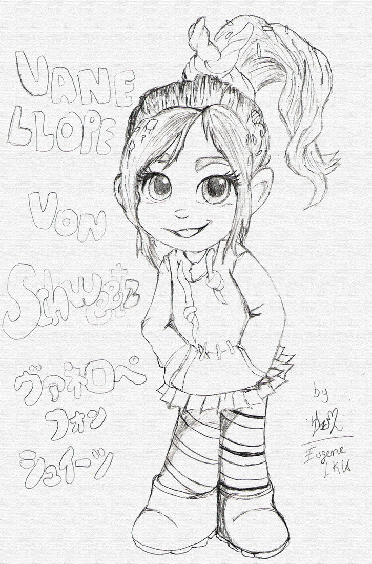 This is a picture of Shocking Vanellope Coloring Pages