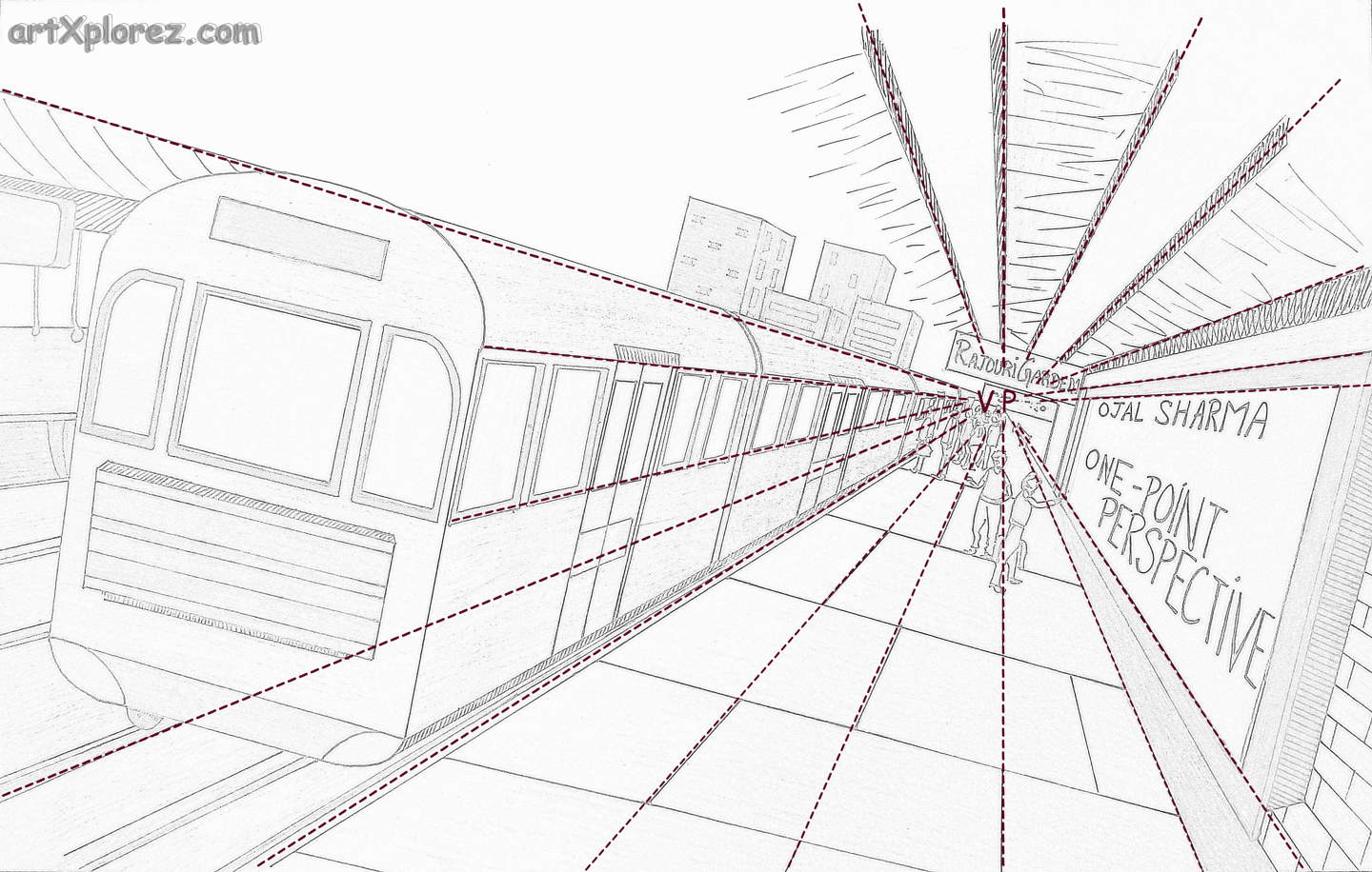 1440x916 Vanishing Point Drawing One Point Perspective Illustration