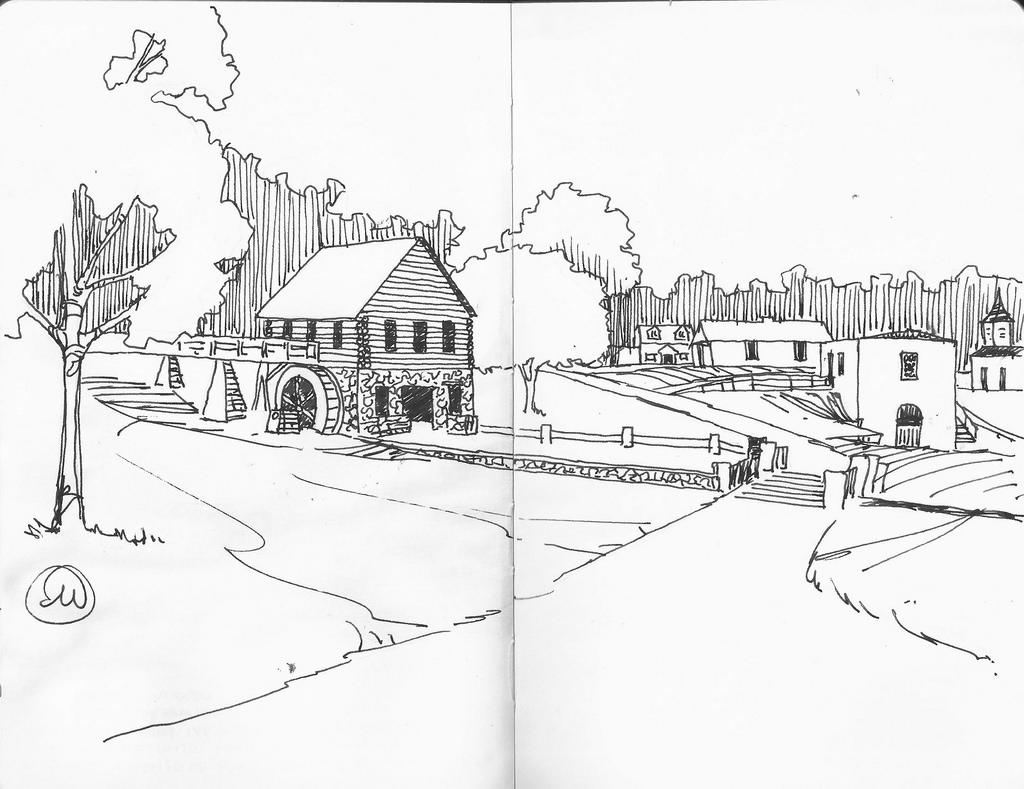 1024x789 Urban Sketchers Midwest Shoal Creek Living History Museum