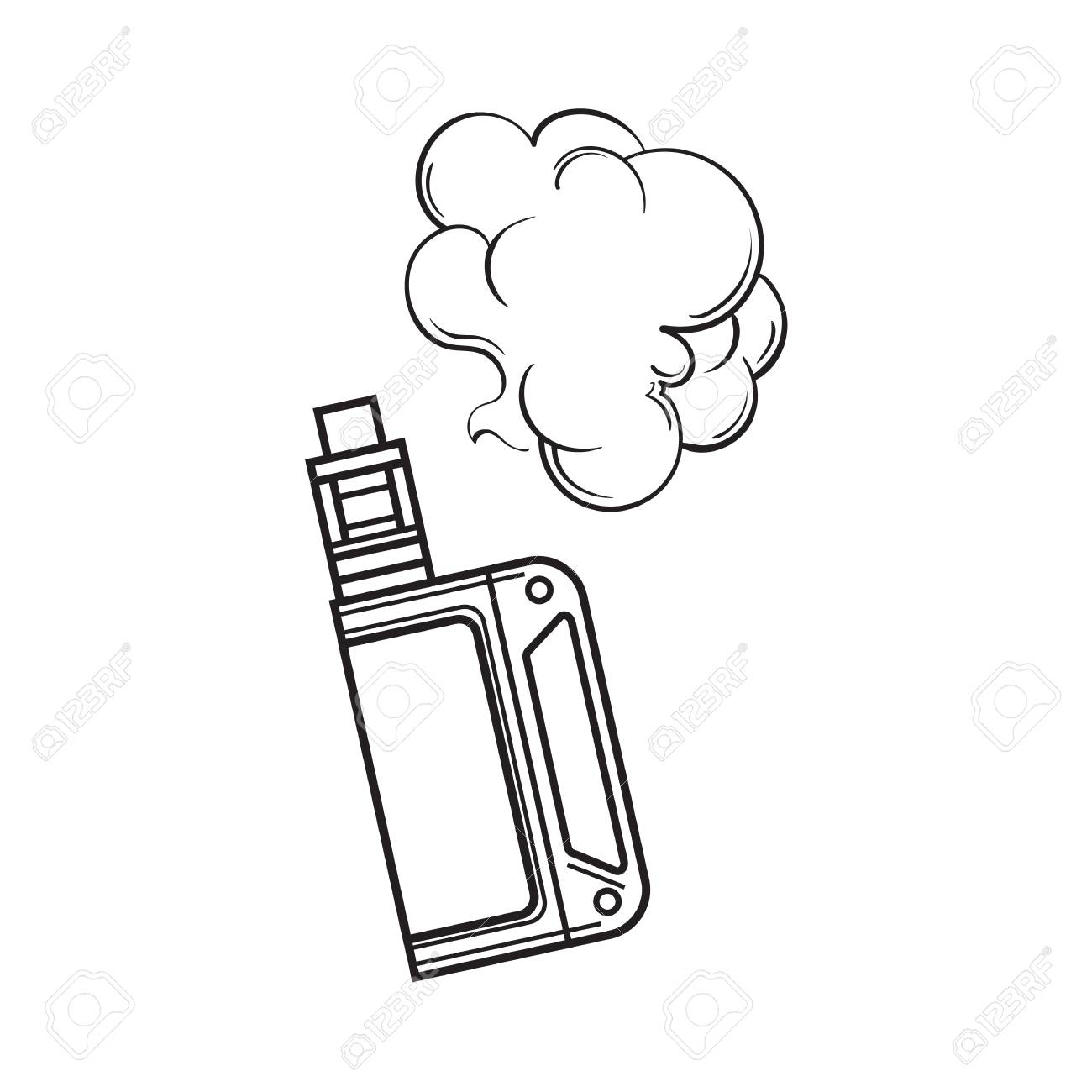 1300x1300 Hand Drawn Vape, Vaping Device With Smoke Cloud, Black And White