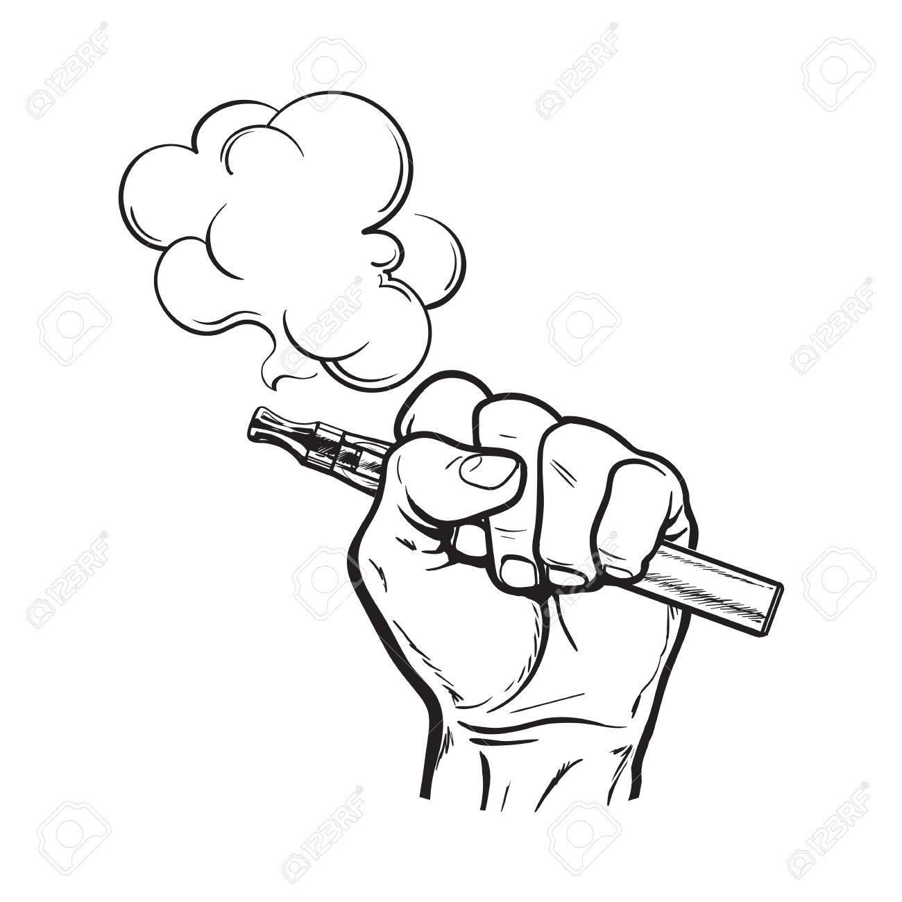 1300x1300 Male Hand Holding E Cigarette, Electronic Cigarette, Vapor