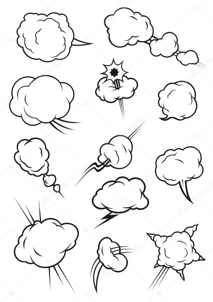 724x1024 Puffing, Exploding, Steaming Cloud Cartoon Icons Stock Vector