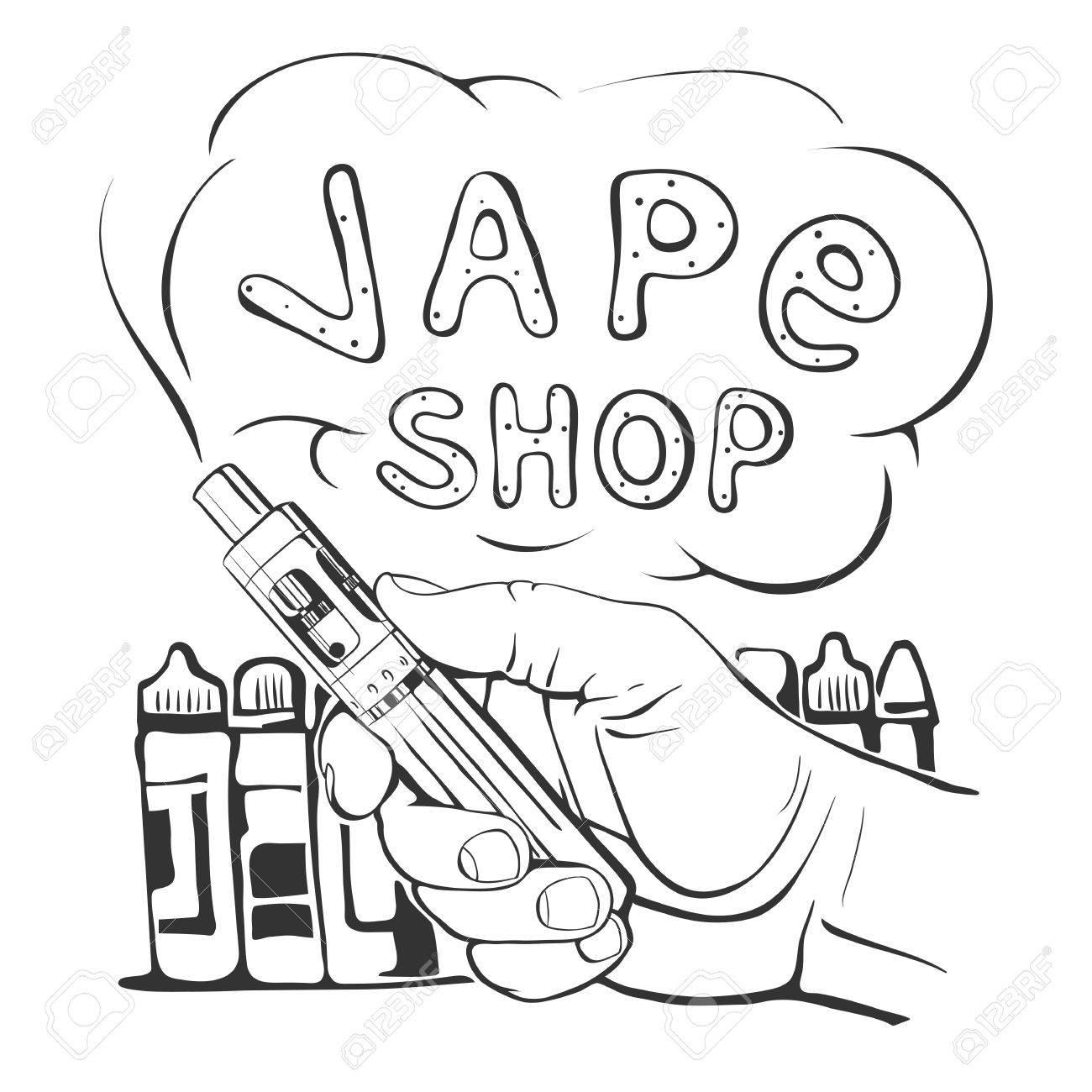 1300x1300 Vape Shop Logo On A White Background Royalty Free Cliparts