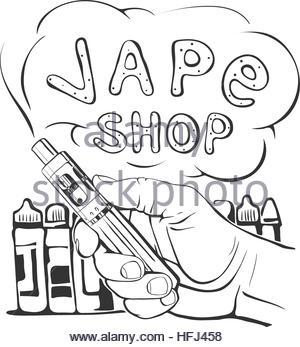 300x347 Vape Shop Logotype With Vapor Cloud On White Background. Vintage