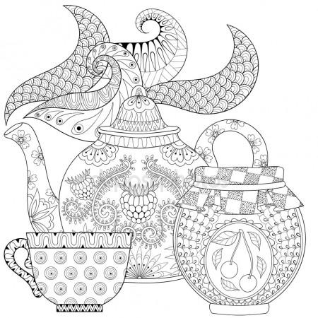 450x450 Cup Of Hot Beverage (Coffee Tea) With Vapor. Coloring Page
