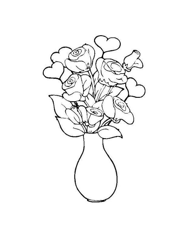 600x777 Flower In The Vase Coloring Page