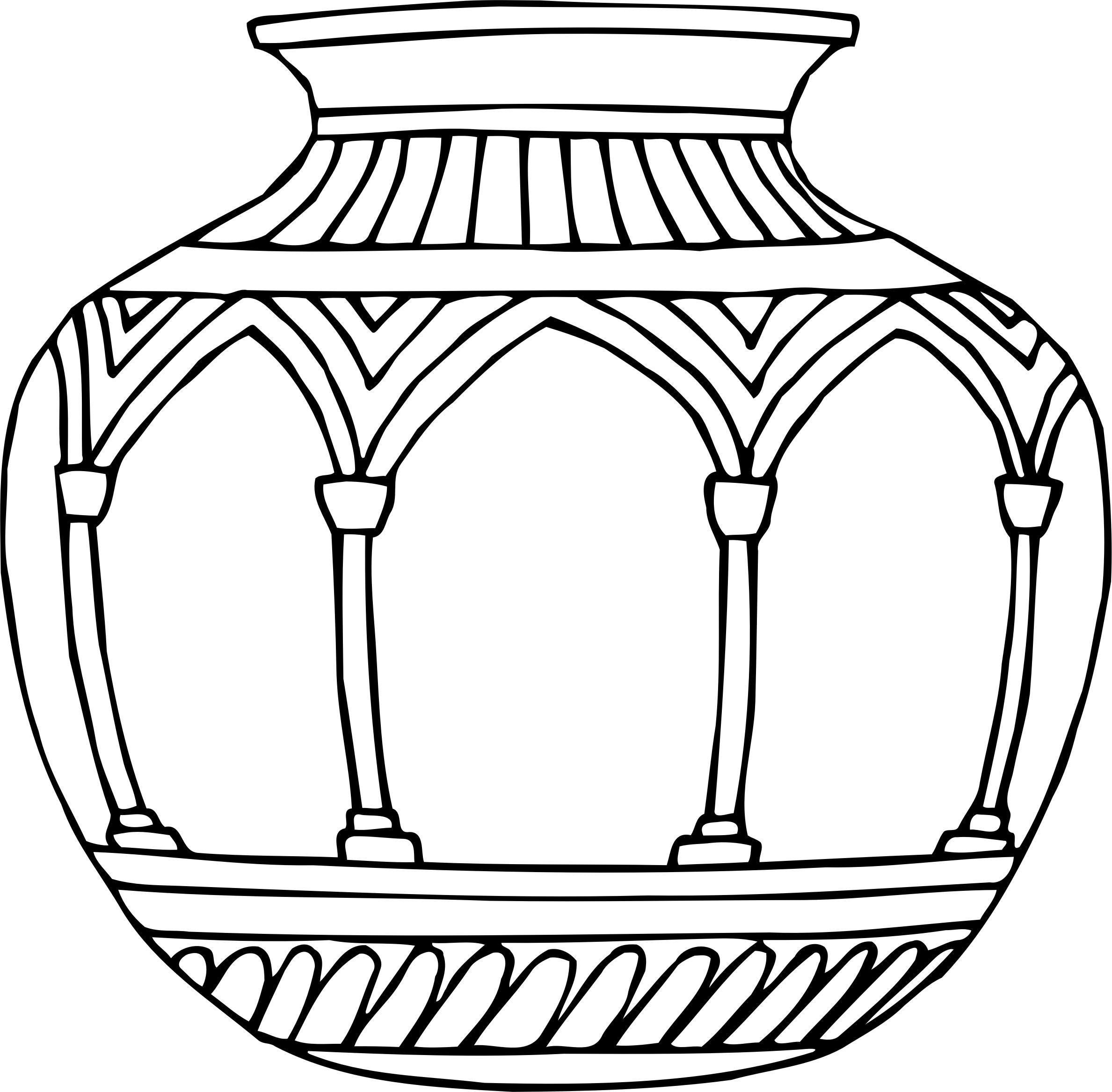 2377x2334 Vase 10 Line Drawing Icons Png