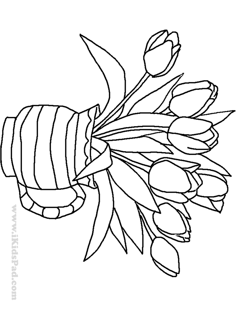 768x1024 Flower Vase Drawing Kid Free Printable Plants And Flowers Coloring