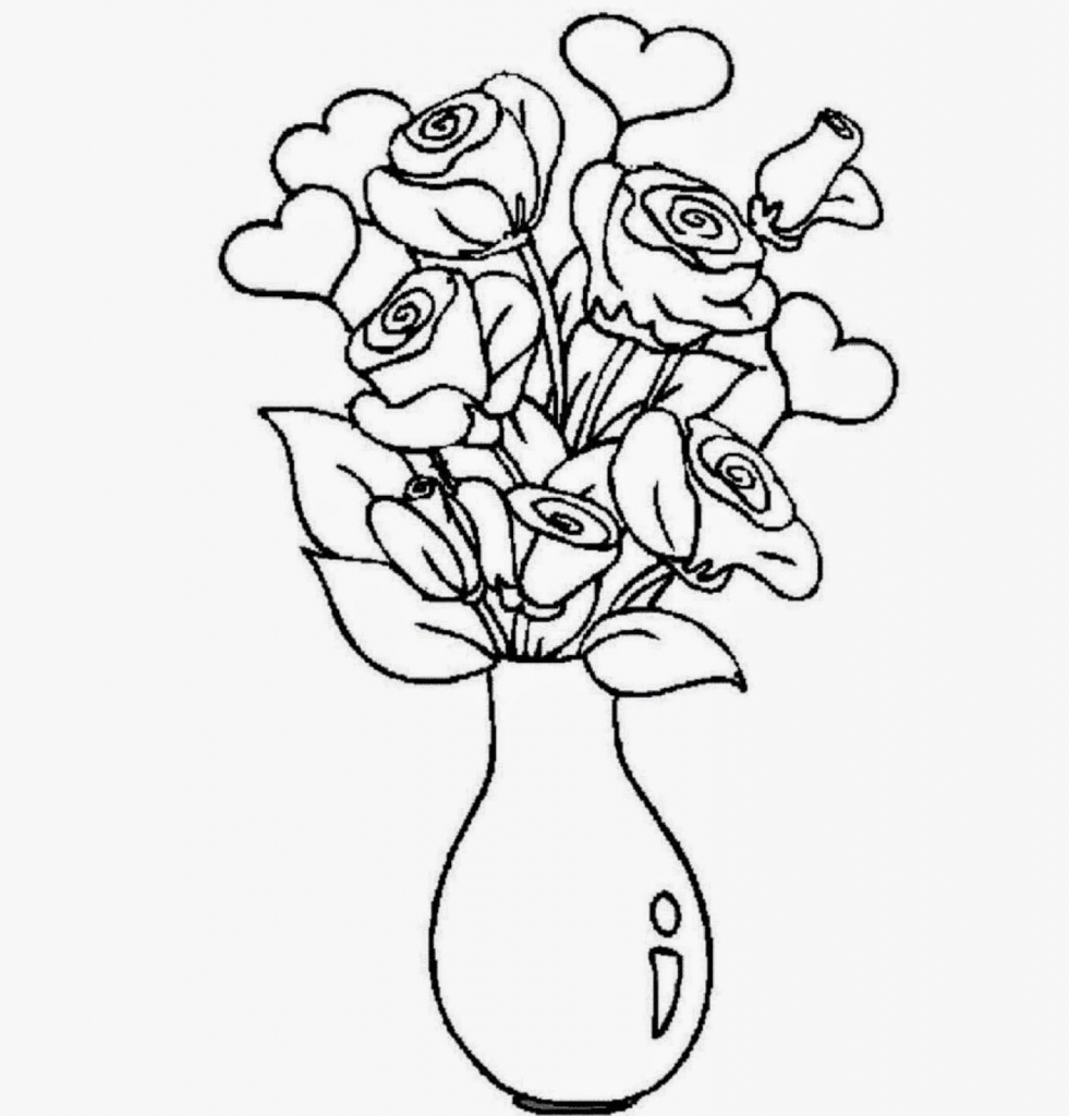 981x1024 Flower Vase Drawing With Colour How To Draw Flowers And Leaves