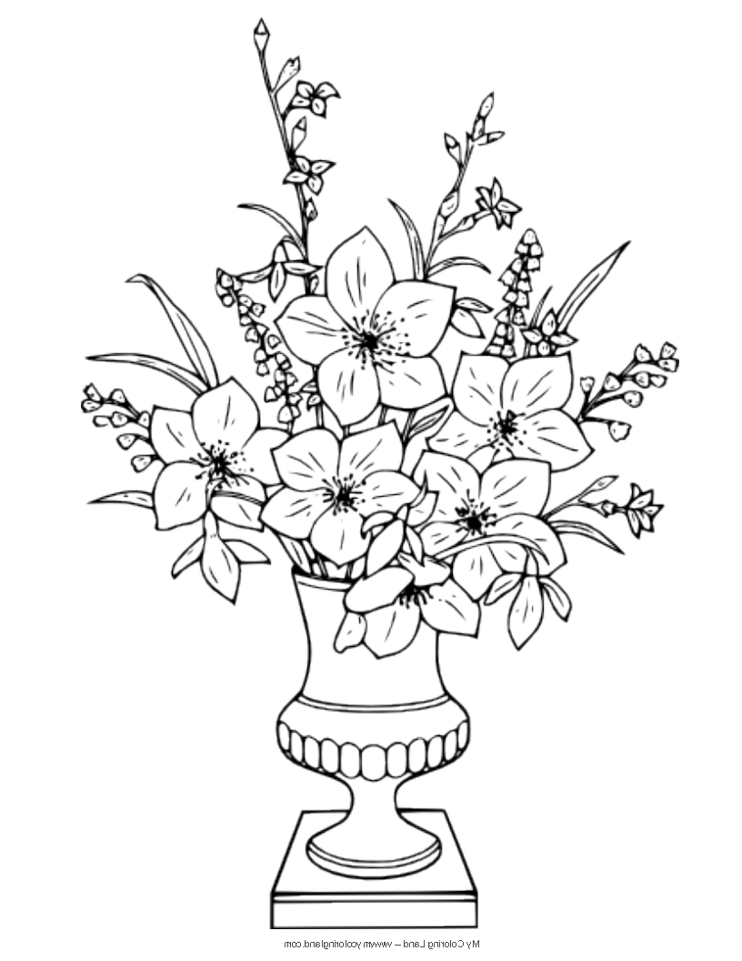 816x1056 Flower Vase With Flowers Drawings Flower Vase With Flowers
