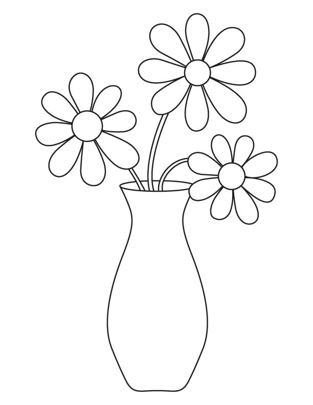 612x792 Flower Vase Coloring Page Download Free