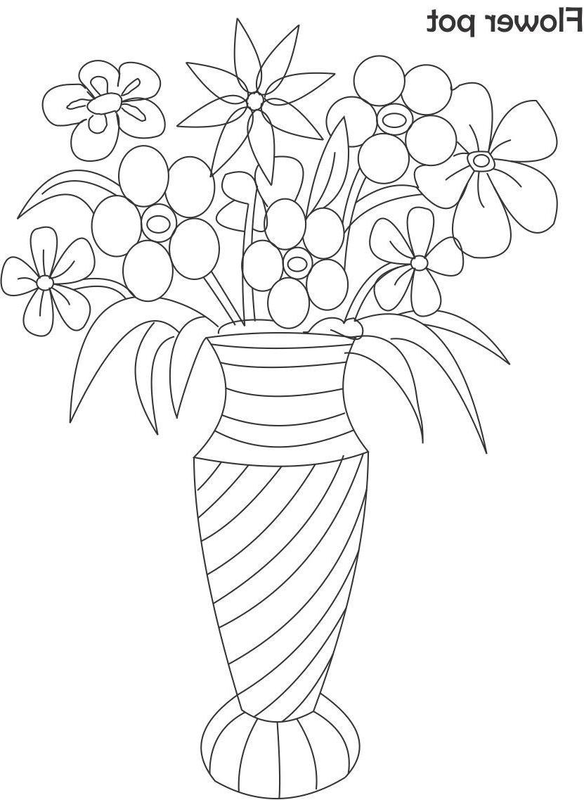 831x1137 How To Make Drawing Of Flower Pot For Kids Easy Flower Vase