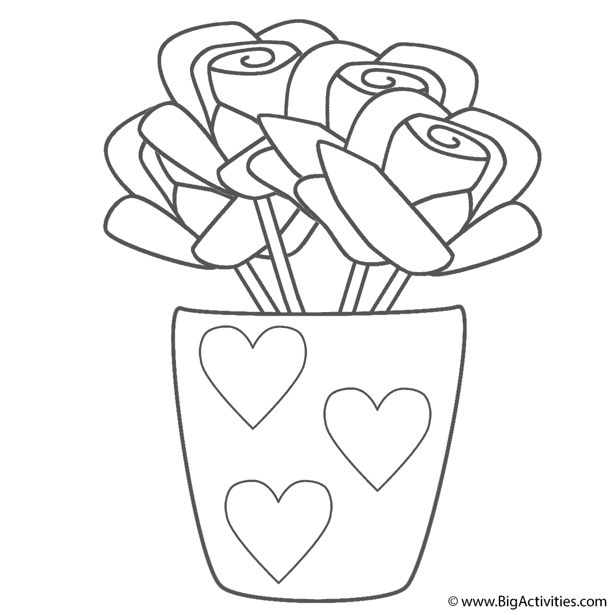 1200x1200 Roses In Vase With Hearts
