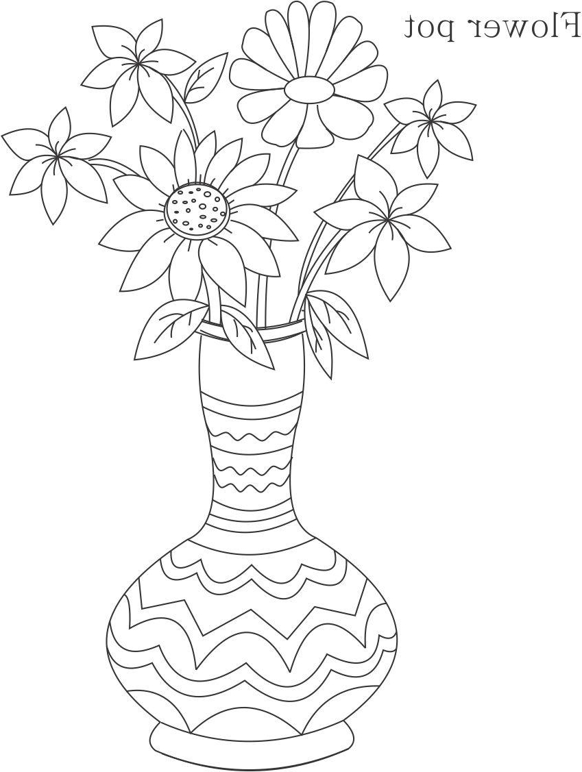 849x1127 Simple Children Drawing Flower Vase Flower Pot Coloring Printable