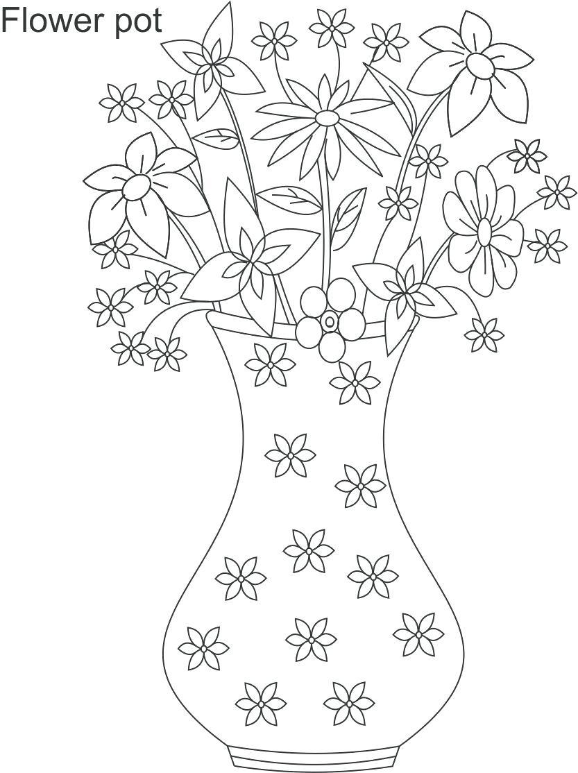 833x1114 Coloring Flower For Coloring Printable Pages Vase Page Easy