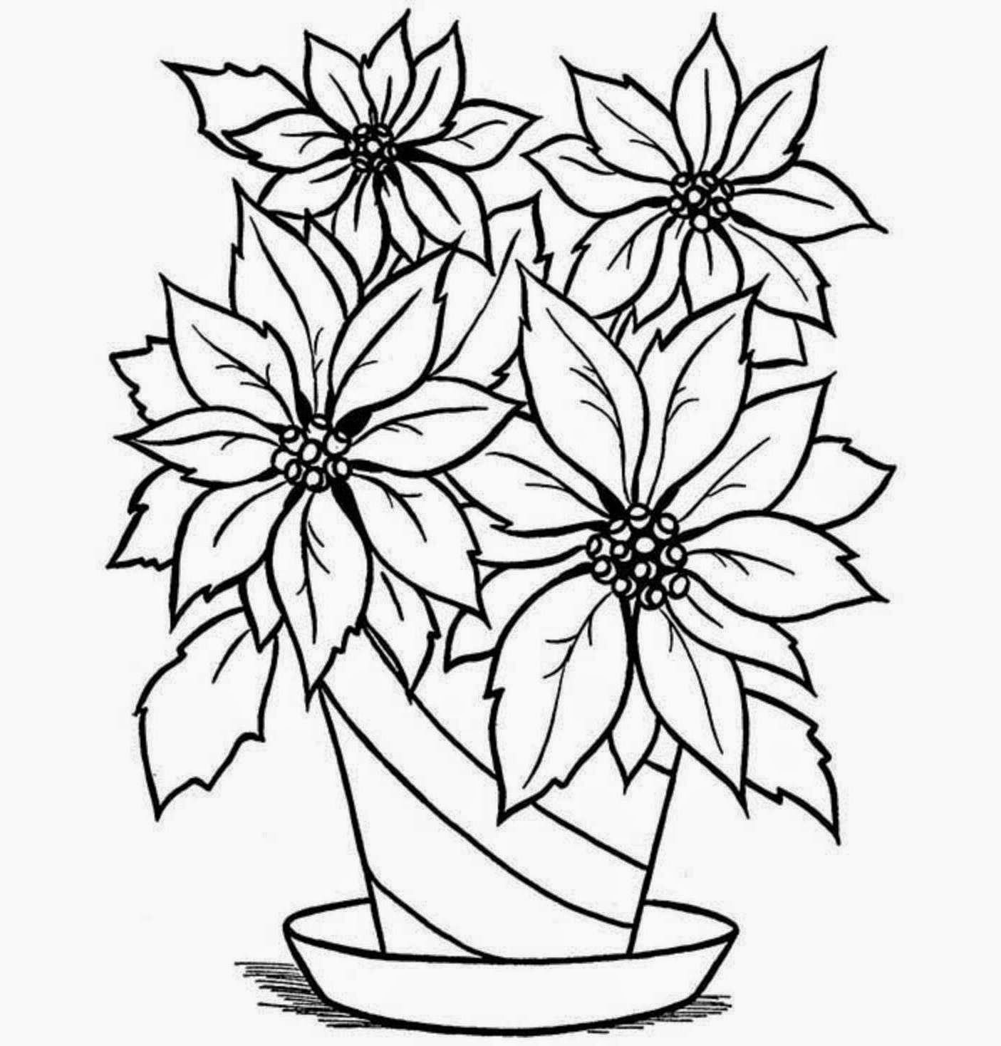 1405x1468 Colour Drawing Free Wallpaper Flowers Vase Coloring