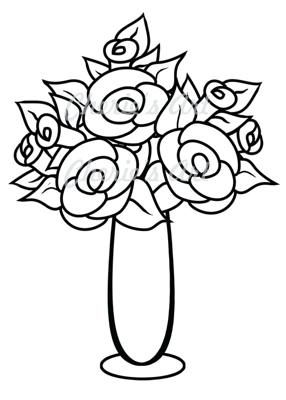 570x798 Line Art Flower Vase Digi Stamp Digi Stamp Digital