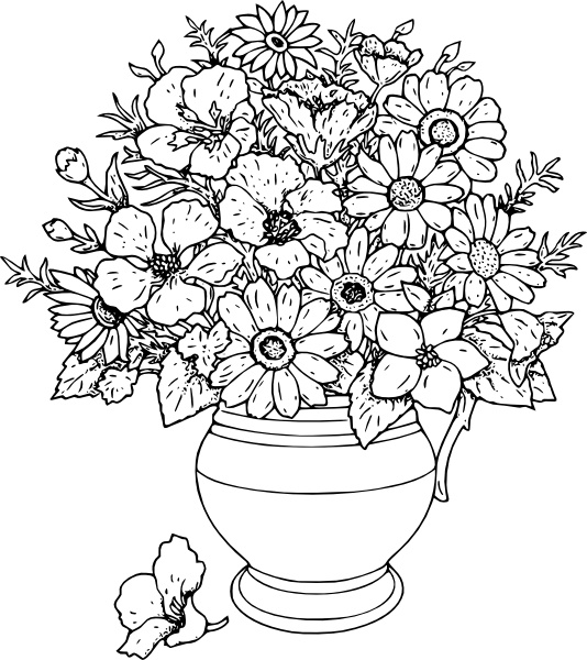 534x600 Vase Of Wild Flowers Clip Art Free Vector In Open Office Drawing