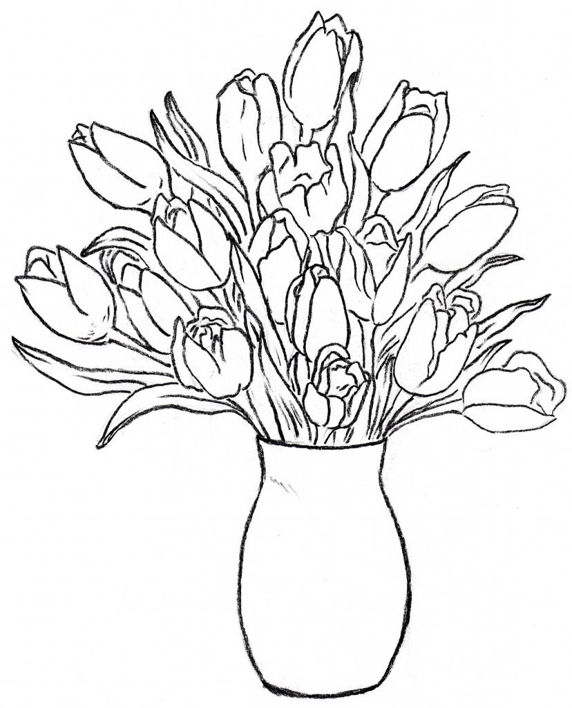 828x1024 Flower Vase With Flowers Drawings Flower Vase Drawing Rose