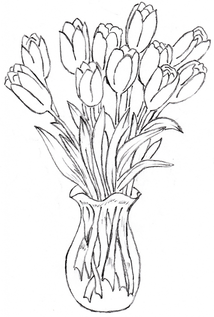 691x1024 Pictures Flower Vase Drawing,