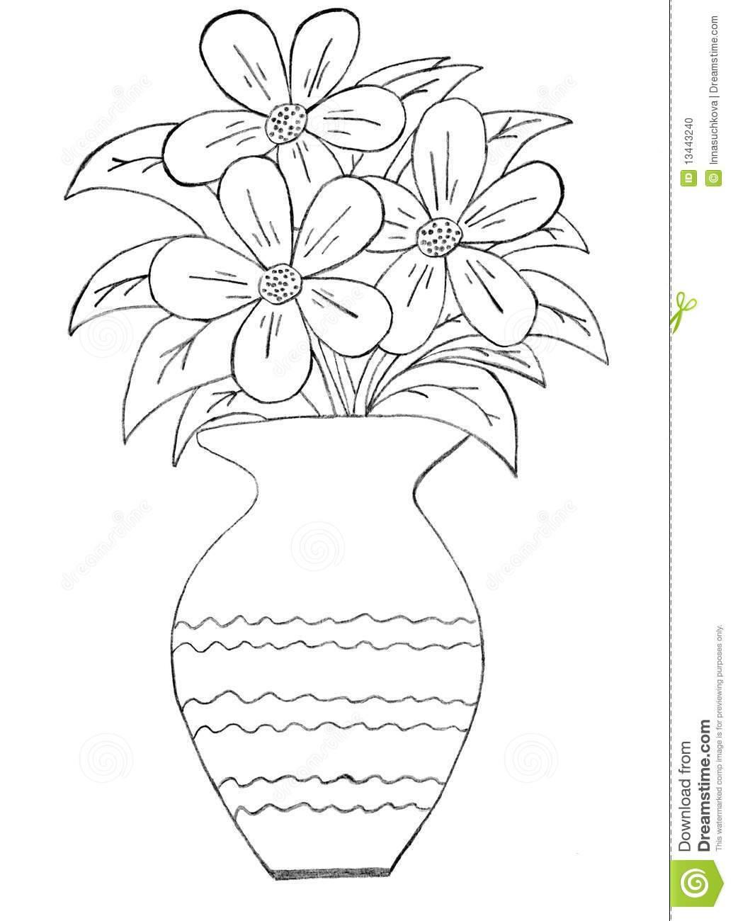 1035x1300 Vase Of Flowers Drawing Drawn Rose Vase Drawing