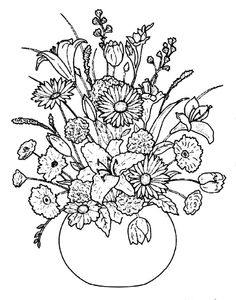 236x300 Vase Of Flowers Embroidery Outline Design