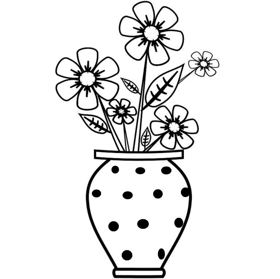 974x971 Coloring Pages Easy Flowers To Sketch Flower Vase In A Drawing