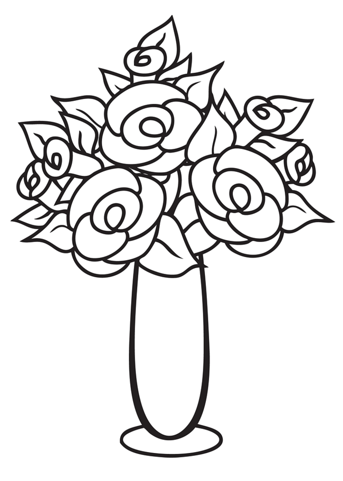 1143x1600 Vase With Flowers Drawings