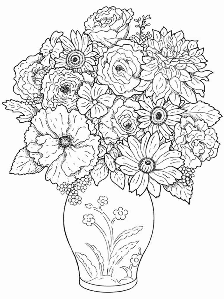 768x1024 Flower Vase With Flowers Drawings For Kids Colourful Flowers