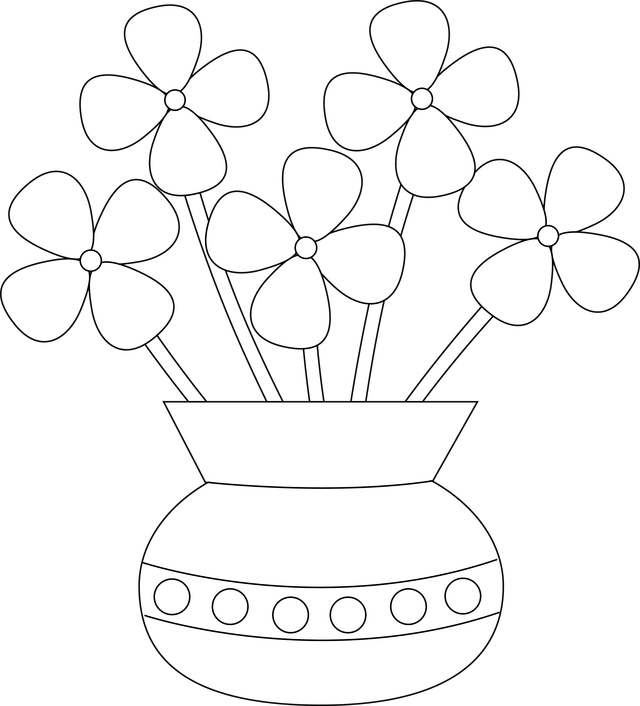 640x706 Vase With Flowers Drawings For Kids
