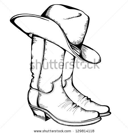450x470 Cowboy Boots And Hat.vector Graphic Illustration By Tancha, Via